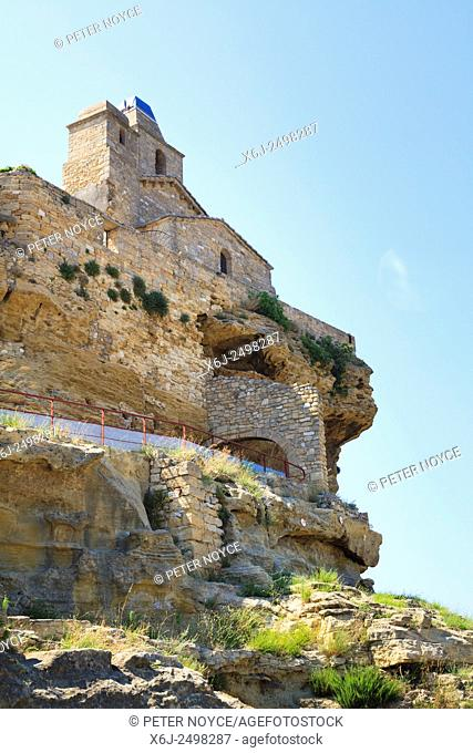 Church of Saint Sauveur at Fos-sur-Mer in France on top the cliff face
