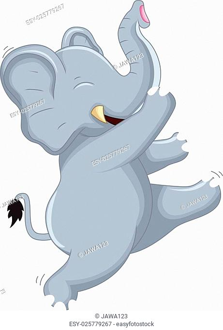 vector illustration of Happy Very Cute baby elephant dancing