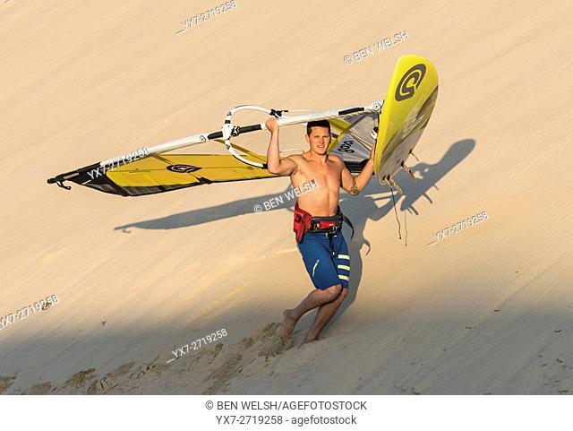 Windsurfer, Tarifa, Cadiz, Costa de la Luz, Andalusia, Spain