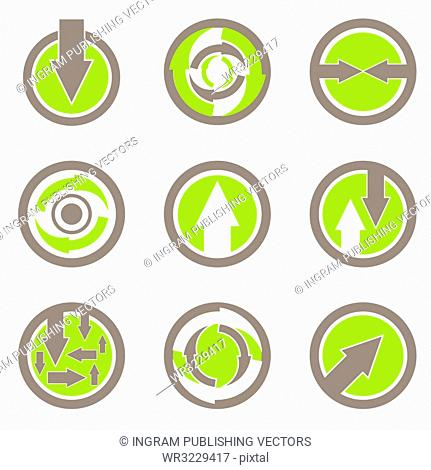 collection of green and brown arrow buttons with envoromental theme
