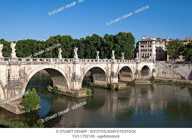 The Ponte Sant'Angelo bridge over the river Tiber, Parco Adriano, Rome, Italy