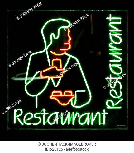 DEU, Federal Republic of Germany : Neon sign of a restaurant