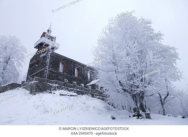 Winter Landscape of a Church on the Top of the Sleza Mountain, Lower Silesia, Poland