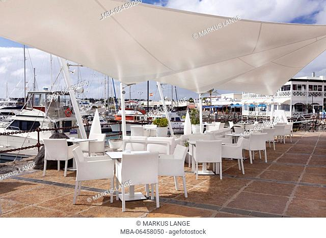 Cafe in the yacht harbour Marina Rubicon, Playa Blanca, Lanzarote, Canary islands, Spain