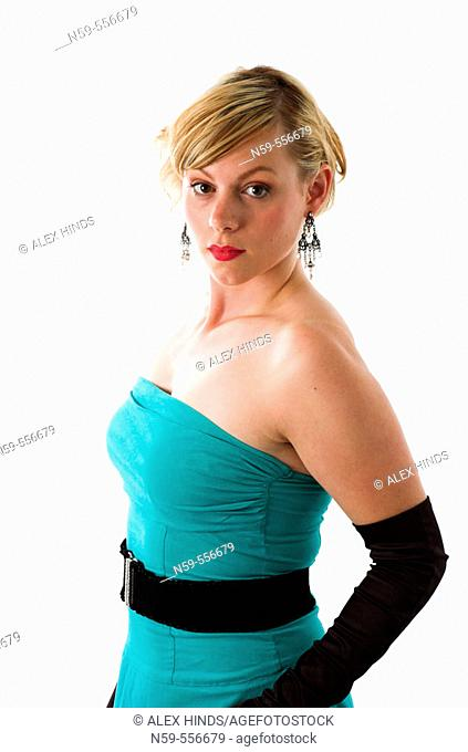 Pretty young woman in evening dress