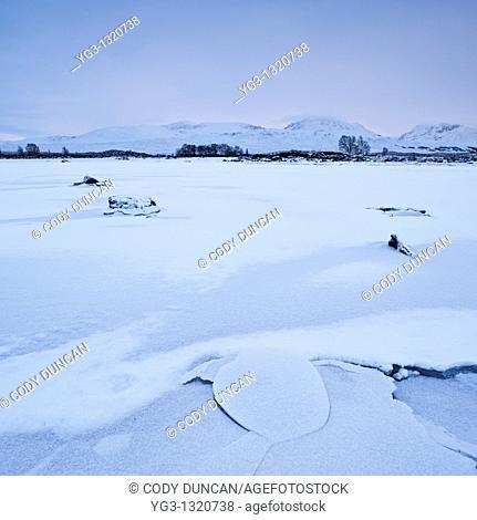 Frozen Loch Ba in winter, Rannoch Moor, Highland, Scotland