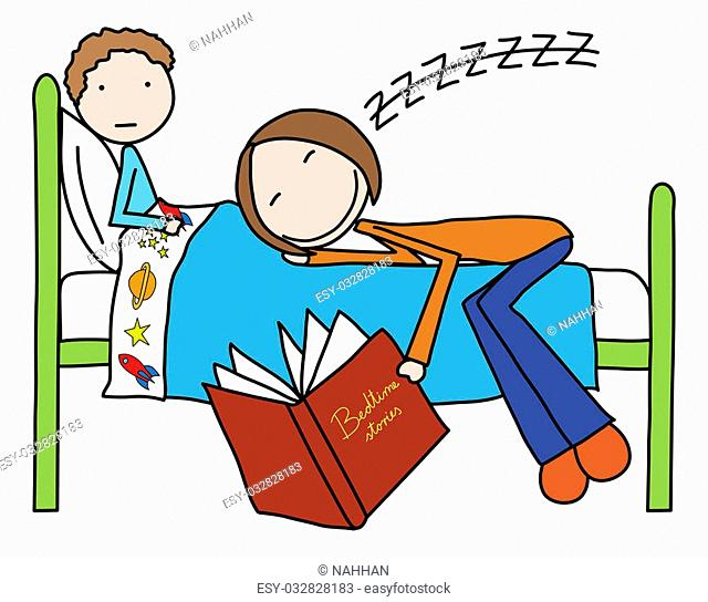 Illustration of mother felt asleep while reading bedtime story to her son