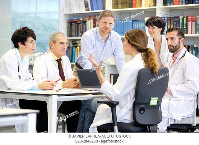Salesman at doctors' meeting, clinical session, Hospital, Donostia, San Sebastian, Gipuzkoa, Basque Country, Spain