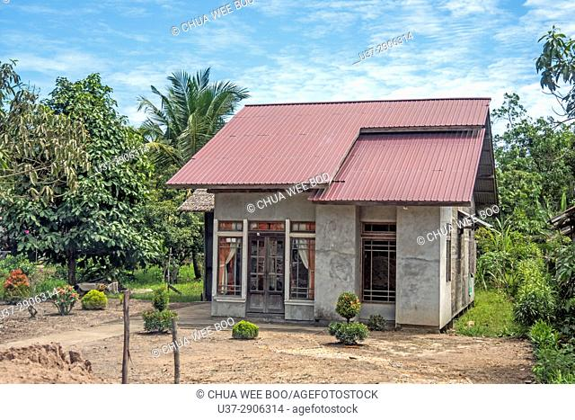 Scenery of Malay house along Singkawang-Aruk road, West Kalimantan, Indonesia