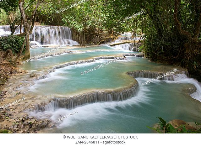 Cascades and turquoise blue pools of the Kuang Si Falls near Luang Prabang in Laos