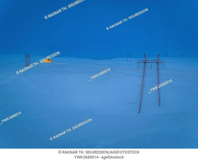 Hydro Electric Power lines near the Hrauneyjar Power Station, Central Highlands, Iceland. This image is shot using a drone