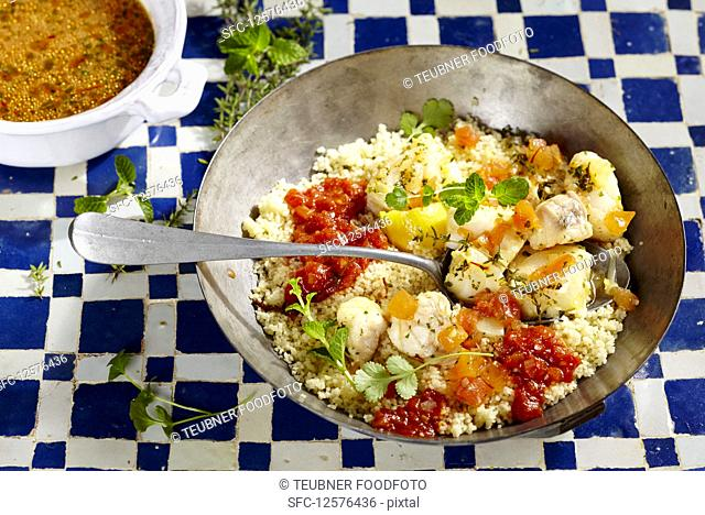 Couscous bi Samak (couscous with cod, Maghreb, North Africa)