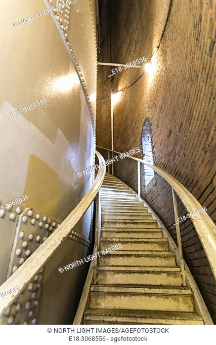 USA, WA, Seattle. Volunteer Park. Curving stairway leads up to observation deck atop old water storage tank