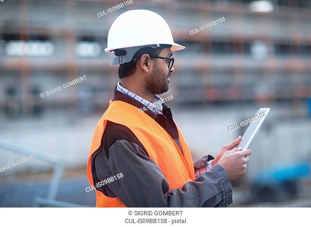 Civil engineer working at site