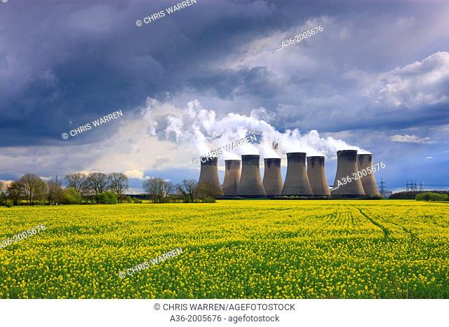 Cooling Towers at Eggborough Power Station Knottingley North Yorkshire England with oil seed rape field