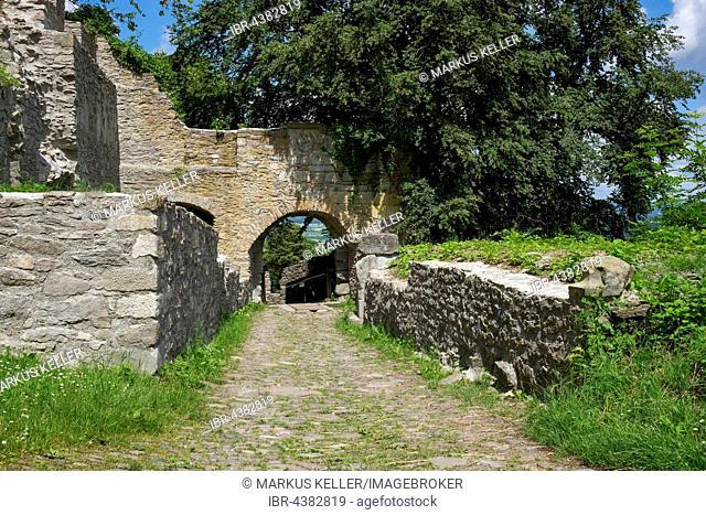 Upper drawbridge, Hohentwiel Fortress Ruins, district of Konstanz, Baden-Württemberg, Germany