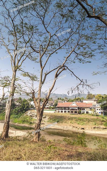 Laos, Luang Prabang, city skyline from Nam Khan River