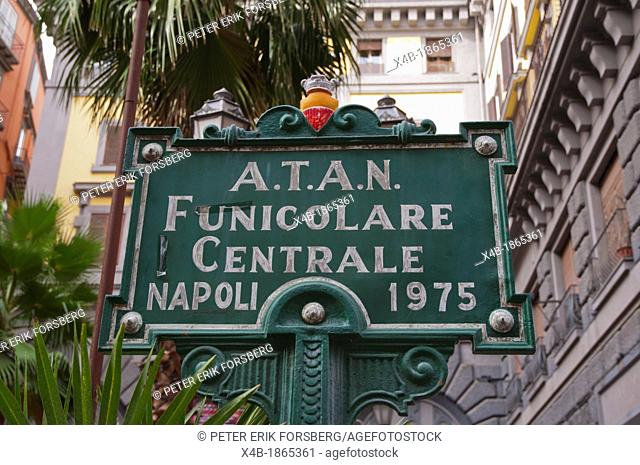 Vittoria Emanuele Funicolare Centrale funicular station sign Quartieri Spagnoli district Naples city La Campania Italy Europe