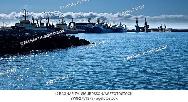 Fishing trawlers, Hafnarfjordur Harbor, near Reykjavik, Iceland