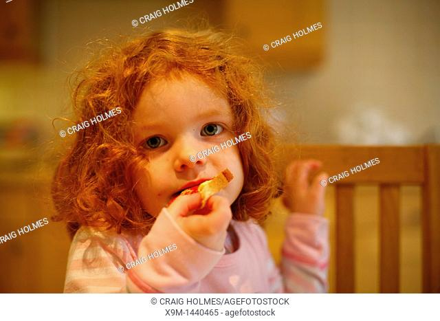 A 4 year old girl with ginger hair eating toast for breakfast in a kitchen