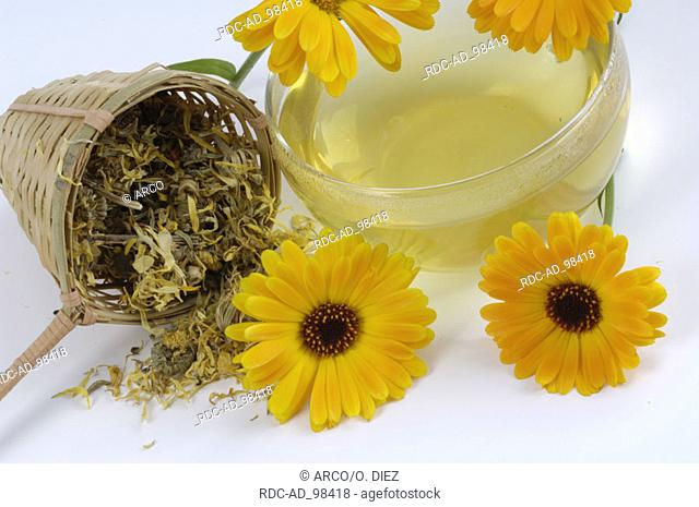 Dried Garden Marigold and cup of tea Calendula officinalis