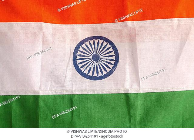 Ashoka chakra on flag of India, India, Asia