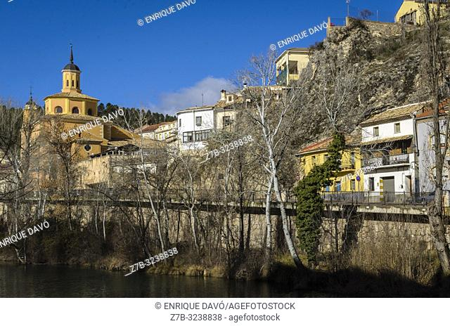 View of a houses close to the Huécar river in Cuenca old town