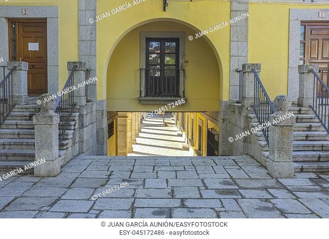Main Square in Herreriano Style of Brunete. Madrid, Spain. Access arch