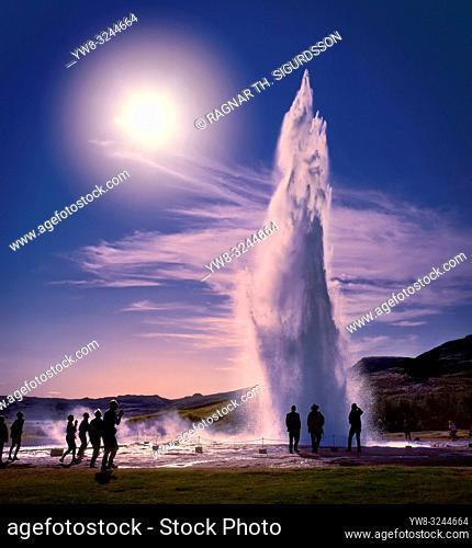 Strokkur Geyser erupting, Iceland