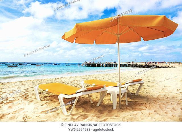 South beach at Santa Maria, Sal Island, Salinas, Cape Verde, Africa