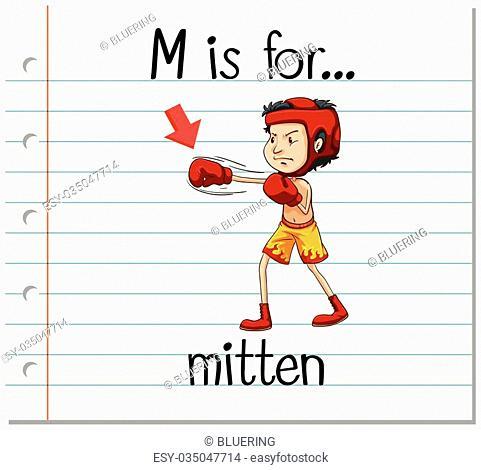 Flashcard letter M is for mitten illustration