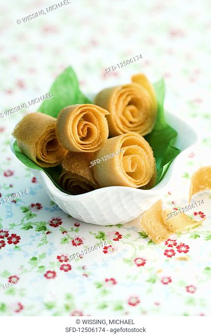 Crispy waffle spirals