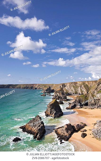 The Bedruthan Steps on the north Cornwall coastline