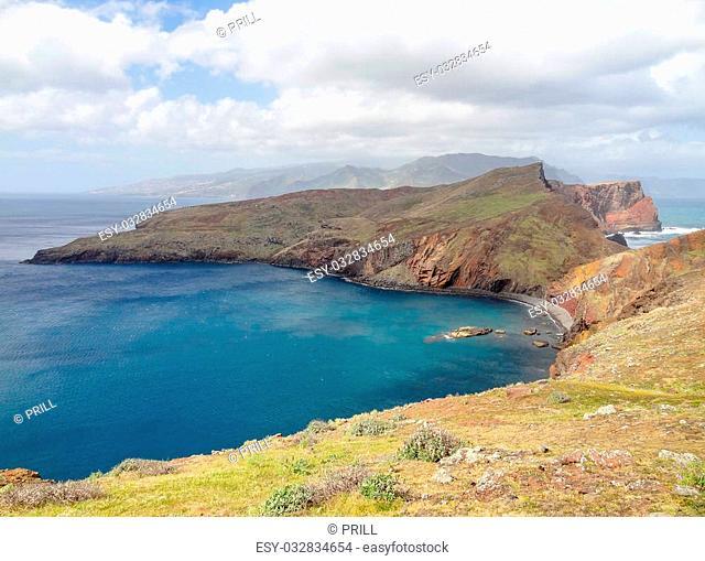 rocky coastal scenery at a portuguese Island named Madeira
