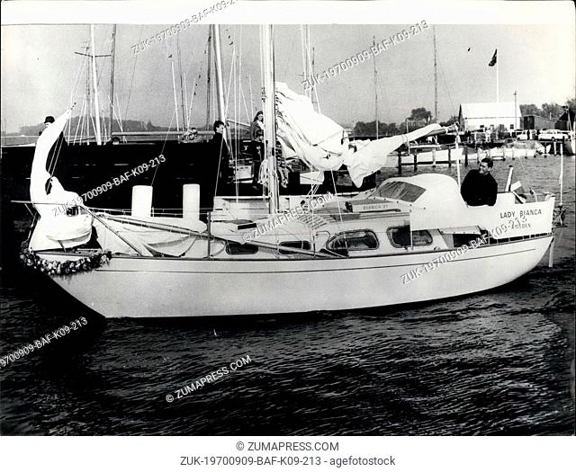 Sep. 09, 1970 - Off on round the world voyage: Lars Harald Gabrielson, from Kalmar, Sweden, left Rudkoebing, Denmark of Friday in a small sailing ship, on a 32