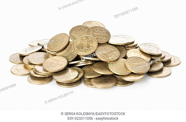 Oodles of coins isolated on a white background