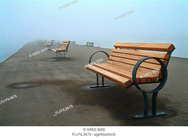 Park Benches on Pier In Fog, Port Dalhosie, St  Catherines, Ontario