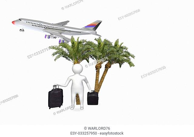 3D figure with airplane isolated on white