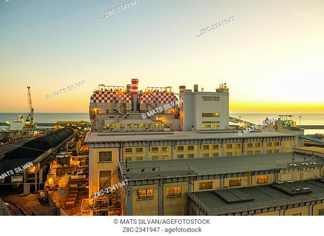 Thermal power plant in dusk in Genoa, Italy