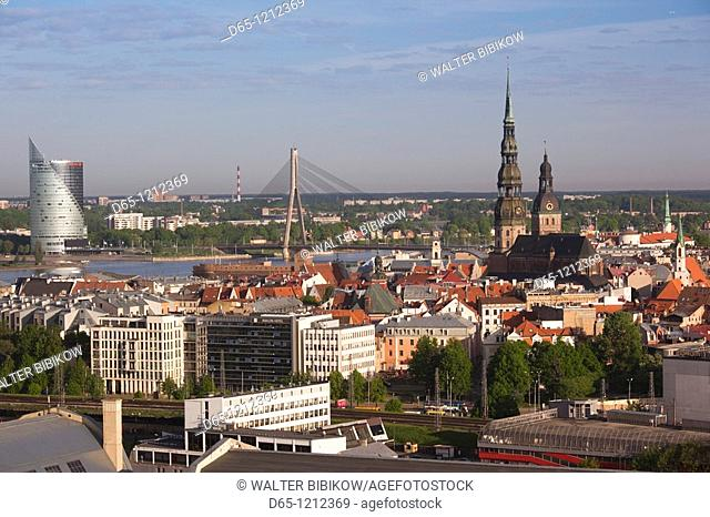 Latvia, Riga, Vecriga, Old Riga, elevated city view from Academy of Sciences building, morning
