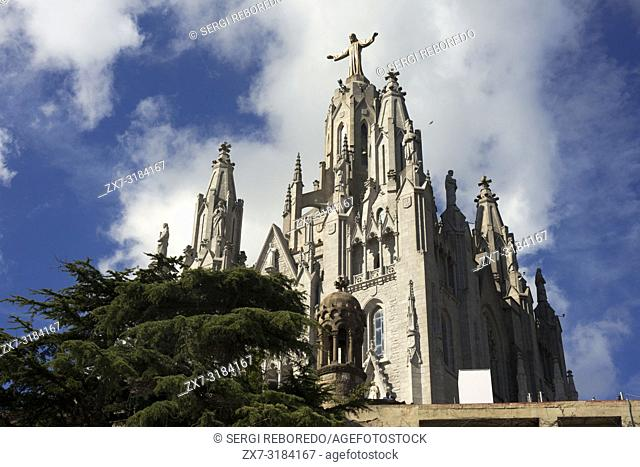 The front entrance of Temple Expiatori del Sagrat Cor, Barcelona, Spain. Temple of the Sacred Heart. Church of the Sacred Heart of Jesus on summit of Mount...