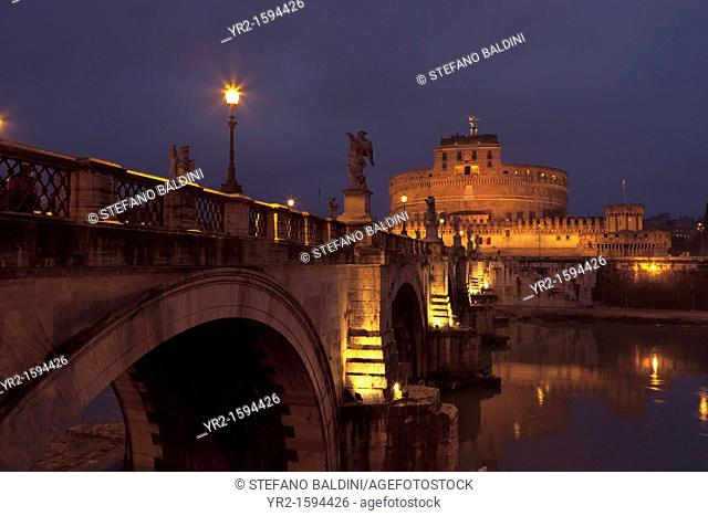 Ponte and Castel Sant' Angelo at night, Rome, Italy