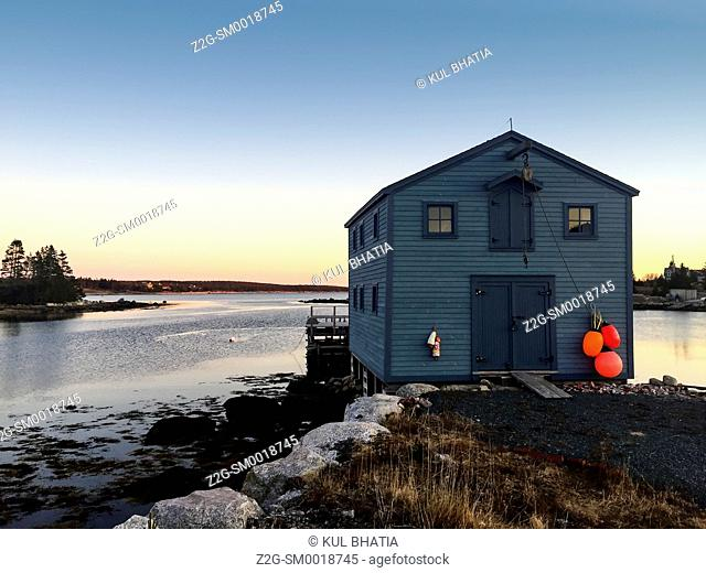 Maritime scenery, sunrise over a cove in the Atlantic Ocean, Halifax, Canada