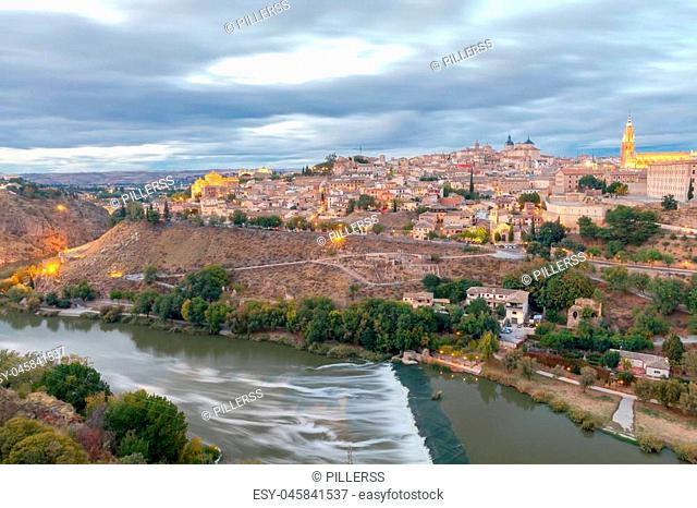 Scenic view of Toledo from the height at sunset. Spain