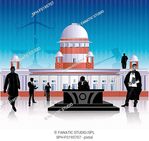 People in front of a courthouse, illustration