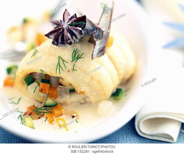 Rolled sole fillet with vegetables and spices