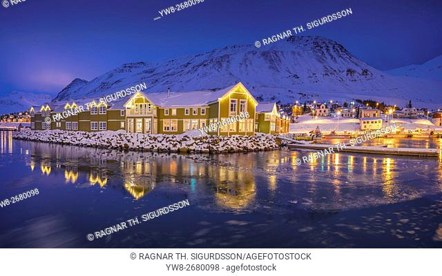 Siglo Hotel, Siglufjordur Habor and town, Northern Iceland. This image is shot with a drone