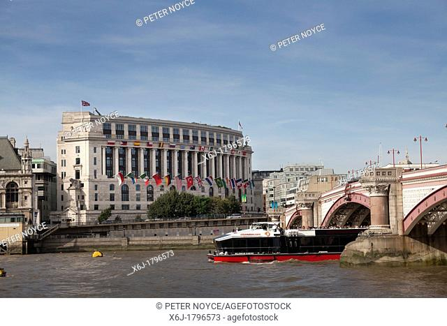 Unilever house by the thames and blackfriers bridge in london