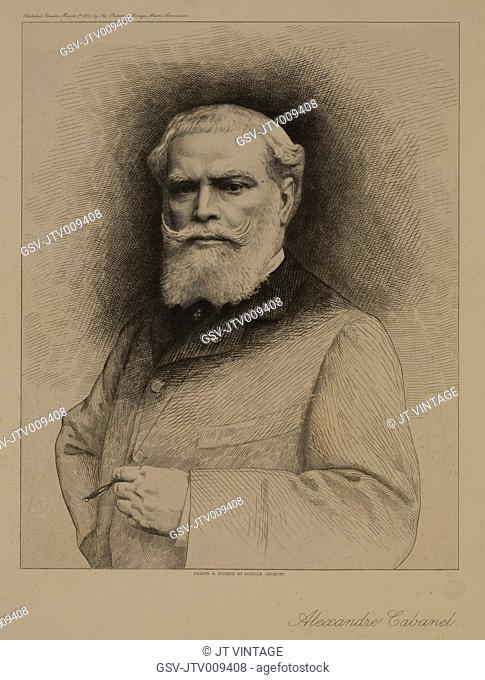 Alexandre Cabanel, French Painter, Portrait Drawn and Etched by Achille Jacquet, 1884