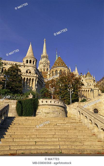Hungary, Budapest, Buda, castle quarter,  Vár, fisher bastion, Matthiaskirche, Free stairway Europe, Central Europe, Magyarorszag, capital, Burgberg